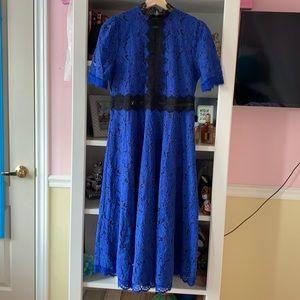 Elegant Blue and Black lace maxi dress